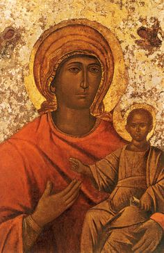 """""""Mesopanditissa"""" Madonna, a 12th or 13th century Byzantine icon that was brought to Venice in 1669, after Candia (Herakleion) fell to the Ottoman Turks. The picture is kept in the main altar of the Church of Santa Maria della Salute (Holy Mary of the Health), Venice."""
