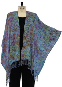 PLUS We Be Bop Lagenlook BATIK BEADS PURPLE COVER UP JACKET 1X 2X 3X 4X 5X 6X #WeBeBop #CoverUpJacket