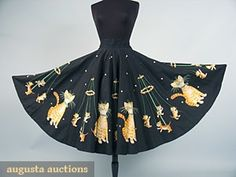 Cats & Kittens Circle Skirt, Mid 1950s, Augusta Auctions, October 2006 Vintage Clothing & Textile Auction, Lot 953