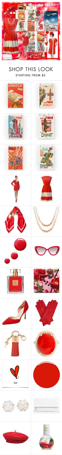 """""""RED, WHITE & TRAVEL"""" by kalenalexis ❤ liked on Polyvore featuring Giclee Gallery, Hostess, Moschino, Honora, Topshop, Avon, Jo Malone, Manolo Blahnik, Gizelle Renee and Spartina 449"""