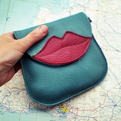 Handmade Leather clutch Purse, Bag, Jade and Berry leather KISS 1803 Handmade Leather Wallet, Leather Gifts, Leather Pouch, Handmade Bags, Leather Purses, Leather Tooling, Leather Jewelry, Handmade Bracelets, Sewing Leather