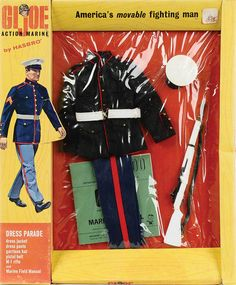 The Marine Dress Parade set may be the most ubiquitous set in military era footlockers. Vintage Toys 1960s, 1960s Toys, Retro Toys, Gi Joe, Military Girlfriend, Military Love, Military Spouse, Big Blue Whale, Nerd Cave