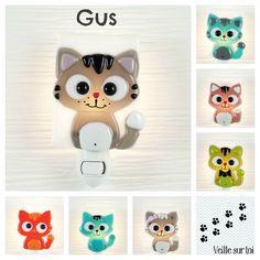 Nightlight cat fused glass night light baby room by VeilleSurToi