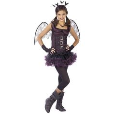 This teen size Night Wing Bat costume features a black and purple dress with a ruffle tutu skirt, glovelettes, character wings, and a matching headband with bats. - Top - Ruffle Tutu Skirt - Glovelett                                                                                                                                                                                 More