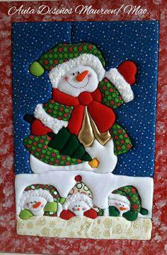 nieve navidad Christmas Love, Christmas Crafts, Christmas Stockings, Snowman, Decoupage, Embroidery, Quilts, Holiday Decor, Home Decor