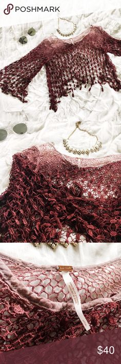  Free People Crochet Top   Gorgeous free people top purchased from Nordstrom's last season. New without tags, never been worn so it's in perfect condition! Love the ombré reddish-pink colors. Perfect to wear with a bralette or a cami underneath it! Free People Tops Blouses