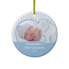 Babys First Christmas Photo Ornament Elelphant