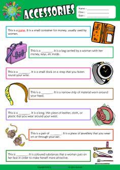 Accessories Find the Words ESL Vocabulary Worksheet