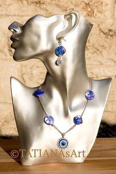 #TATIANAsArt #Schmuck #Kette #Halskette #Ohrringe # Modeschmuck #Schmuckset #Amulett #Blaues Auge #Türkisches Auge #Talisman #Glücksbringer-magisches Auge #Magisches Auge #Nasar #Boncuk #Glück zum Schutz #Glücksbringer #Geschenk #Perlmutt #Blau