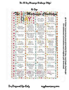30 Day Mom & Marriage Challenge printable from imom.com - Pocket, Personal, A5, and Erin Condren sizes printables available - My Planner Envy.