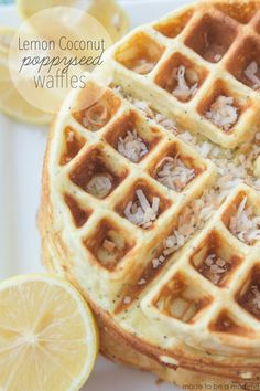 Lemon Coconut Poppyseed Waffles with Lemon Essential Oil
