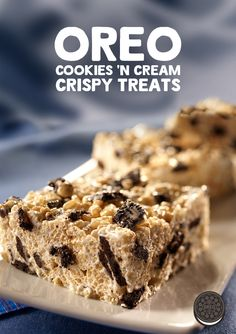 Make your marshmallow treats even more awesome by adding chopped OREO cookies to them like in this quick and easy Cookies 'n Cream Crispy Treats recipe.