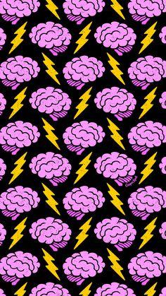 Brains Cute Spooky Creepy Halloween Brain Lightning Electric Repeat Pattern Wallpaper Phone iPhone M Et Wallpaper, Handy Wallpaper, Wallpaper Animes, Screen Wallpaper, Aesthetic Iphone Wallpaper, Pattern Wallpaper, Wallpaper Backgrounds, Aesthetic Wallpapers, Iphone Backgrounds