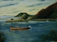 """Fishing at Portlick"" by Nuala Holloway - Oil on Canvas #NualaHolloway #Fishing #Boat #Glasson #IrishArt"