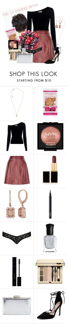 """february 14 romantic dinner"" by mfcastillo98 ❤ liked on Polyvore featuring Michael Kors, A.L.C., NYX, Tom Ford, NARS Cosmetics, Hanky Panky, Deborah Lippmann, Gucci, Clarins and La Sera"