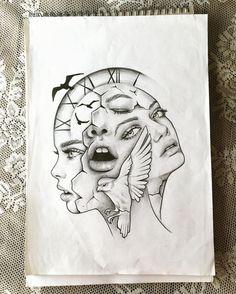 art, time, drawing, tattoo, sketch, bird, illustration, dilara us