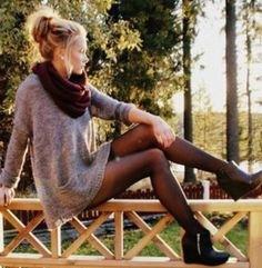 #winter #fashion / gray knit dress + burgundy scarf