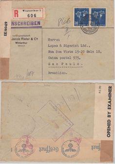 Schweiz - 2x30 C. Juventute Enzian Einschreibebrief n. BRASILIEN Winterthur 1944 | eBay