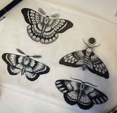 Black-ink old school moth tattoo design variants - Tattooimages.biz
