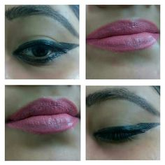 Simple makeup..winged eyeliner with matte pink lips