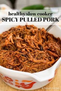 This Healthy Slow Cooker Spicy Pulled Pork will quickly become one of your favorite recipes for a crowd.Pulled pork is one of my favorite comfort foods and a dish I love to make during the summer...