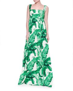 Banana+Leaf-Print+Maxi+Tank+Dress,+White/Green+by+Dolce+&+Gabbana+at+Neiman+Marcus.