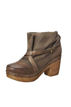 """A 2.5 inch comfortable wood-like synthetic heel with gorgeous grey/brown suede upper with leather straps and stud detailing. This ultra rugged chic clog bootie is perfect with any skinny and chunky knit sweater.    Heel height: 2.5""""   916 Clog Boot by Antelope. Shoes - Booties - Heeled Vermont"""