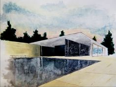 """Sketch #3 - """"Barcelona Pavilion"""" by Mies van der Rohe - Acrylic paint on paper"""