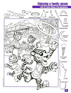 Tiger Picnic Hidden Picture coloring page Mais Hidden Object Puzzles, Hidden Picture Puzzles, Hidden Objects, Cool Coloring Pages, Coloring Sheets, Learning Tools, Kids Learning, Hidden Pictures Printables, Highlights Hidden Pictures