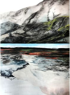 Strönd - watercolor, gouache, acrylic and charcoal on paper. Original artwork by Noelle Phares. #Iceland #painting #watercolor #charcoal #landscape #contemporaryart