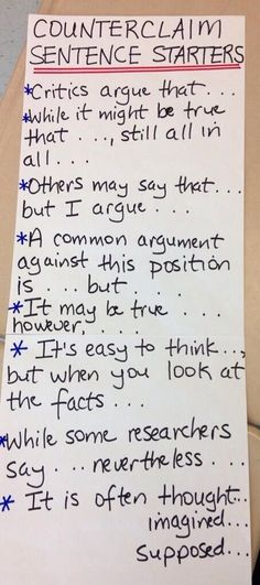 Counterclaim arguments