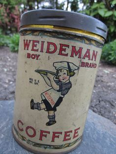 Rare 2 Sided Litho Weideman Boy Brand Coffee Tin Can Cleveland Ohio Advertising