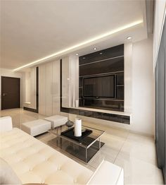 5 room HDB design by 9 degree -  considering the carpentry in the living room for more storage
