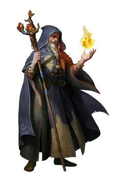 Male Old Human Wizard - Pathfinder PFRPG DND D&D d20 fantasy