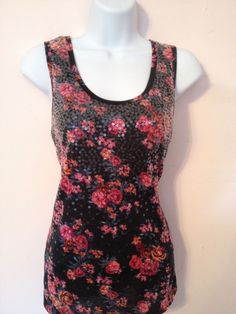 RUE 21 NWT Black/Red Floral & Sequin Top Sz Small Tank blouse #rue21 #TankCami #Casual