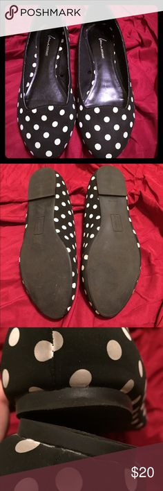 🎉HP🎉 Polka Dot Flats Women's size 11 polka dot flats from Lane Bryant. Worn once. The size isn't printed on the shoe but it's definitely an 11 also it doesn't say wide width but the fit is like a wide width shoe. A few dots on the back are a little dirty (see pic 3) but can probably be washed to look brand new again. The soles and insoles are in excellent condition. The material feels like a rubbery canvas, it's hard to describe but I remember the website saying they're waterproof when I…