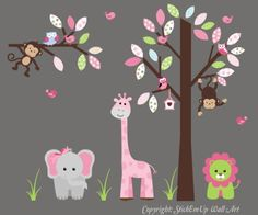"""Baby Nursery Wall Decals Safari Jungle Childrens Themed 74"""" X 95"""" (Inches) Animals Trees Wildlife: Repositionable Removable Reusable Wall Art: Better than vinyl wall decals: Superior Material Nursery Wall Decals http://www.amazon.com/dp/B00AM8FAWS/ref=cm_sw_r_pi_dp_TIhQvb0X9CFQQ"""
