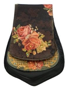 Buy New: $288.00 -  Michal Negrin Small Pouch Embellished with Spanish Roses Print, Glitter, Swarovski Crystals and a Golden Shoulder Strap