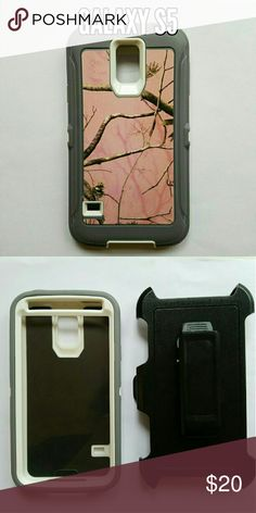 Galaxy s5 defender style Phone case Pink camo heavy duty 3 in 1 phone case for Samsung Galaxy s5. Protect your phone against scratches, dirt, and shock damage! Comes with built in screen protector and belt clip holster. Accessories Phone Cases