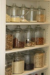 I love the look of mason jars and apothecary jars for kitchen storage.  On open shelving in a pantry; and in bulk too!