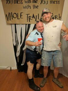 See how groups have thrown their own murder mystery parties! Here is our gallery of murder mystery party ideas -- from prom to trailer trash. White Trash Outfit, White Trash Party Outfits, White Trash Bash, Redneck Birthday, Redneck Party, Daddy Birthday, 39th Birthday, Trailer Trash Party, Hillbilly Party