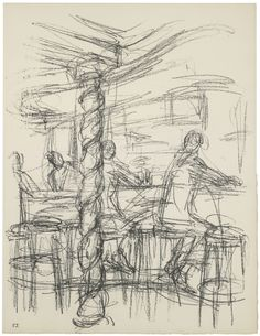 Alberto Giacometti Chez Adrien'in barı (III) The bar at Chez Adrien (III) 1969'da Sonsuz Paris'te yayımlanan taşbaskı, 52. Plaka Lithograph published in 1969 in Paris without End, plate 52, 42,5 x 32,5 cm Giacometti Vakfı Koleksiyonu, Paris, env. 1994-0865-52 Giacometti Foundation Collection, Paris, inv. 1994-0865-52 © Estate Giacometti (Fondation Giacometti + ADAGP) Paris, 2015 #GiacomettiPera