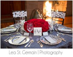 JD Designs Styled: Lea St. Germain Photography - #smithandwollensky   #rentalsunlimited #HighEndWedding #romanticwedding  #stylish #exquisitelinensandflorals #shadesofgray #soireeandover #tablenumber #chic #tablescape #luxurywedding #boston #wedding #gray #silver #red