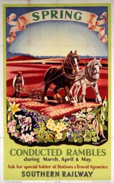 Poster, Southern Railways, 'Conducted Rambles, Spring' by Audrey Weber, 1936 Posters Uk, Railway Posters, Train Posters, British Travel, Southern Railways, Vintage Labels, Travel Images, Vintage Travel Posters, Europe