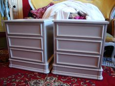 Pair of period style bedside cabinets in distressed and waxed Elephant's Breath...