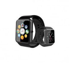 AMAHOUSSE Montre connectée noire cadran noir compatible android GT08