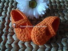 Sweet Orange handmade crochet cotton Baby Mary Janes Shoes are sweet on little feet!    Please stop by my Etsy shop at www.etsy.com/shop/sweetheartsandsoles for more baby & toddler accessories.