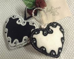 Black and White Heart Ornaments