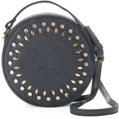 Olivia Miller Amelia Studded Canteen Crossbody Bag ($38) ❤ liked on Polyvore featuring bags, handbags, shoulder bags, black, cross-body handbag, studded shoulder bag, handbags purses, faux leather crossbody and purse crossbody