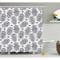 Damask Fabric Shower Curtain Stall